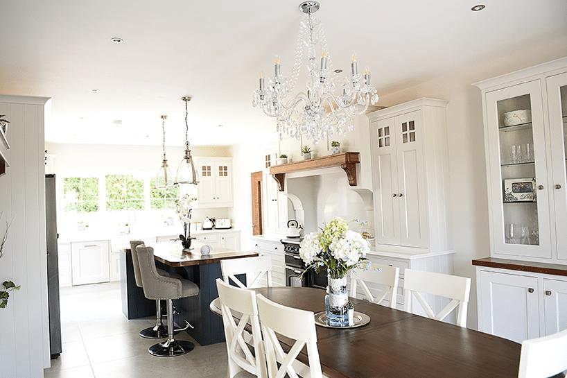 Farrow & Ball painted Ammonite kitchen with Farrow and Ball stiffkeyblue island along with stunning Quartz worktop