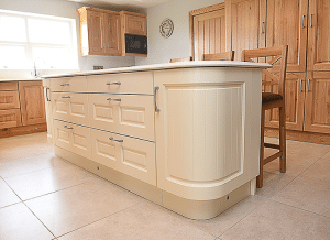 Ivory island with radius doors and pull out drawers